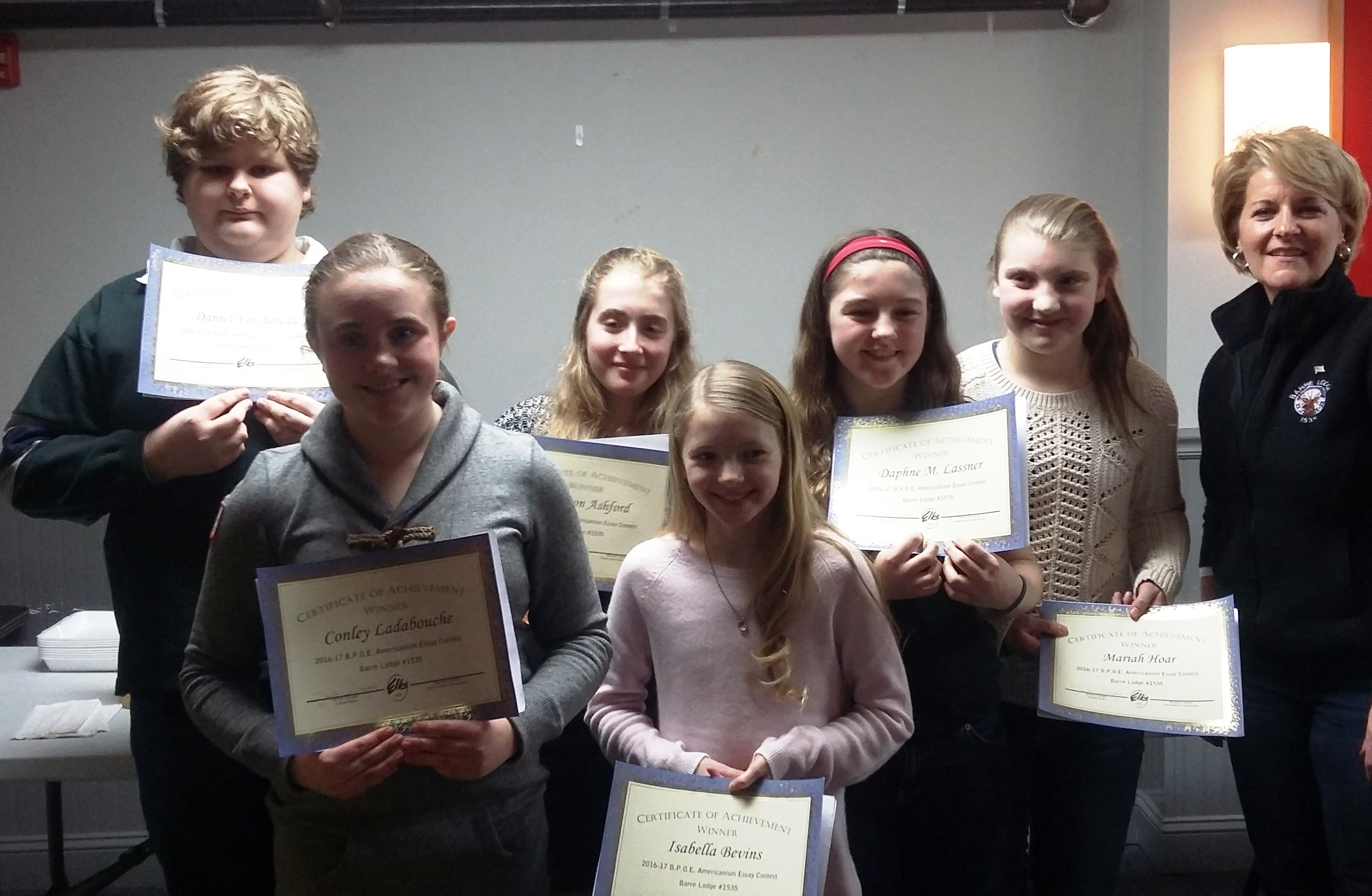 barre elks lodge welcomed six americanism essay winners the certificates